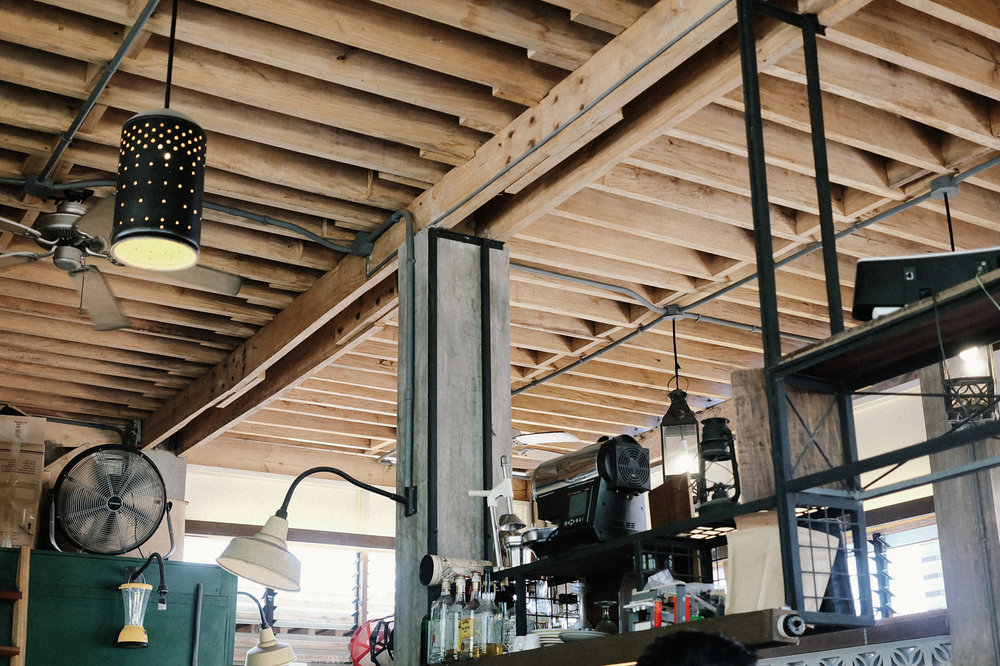 Wood beams at El Union Coffee