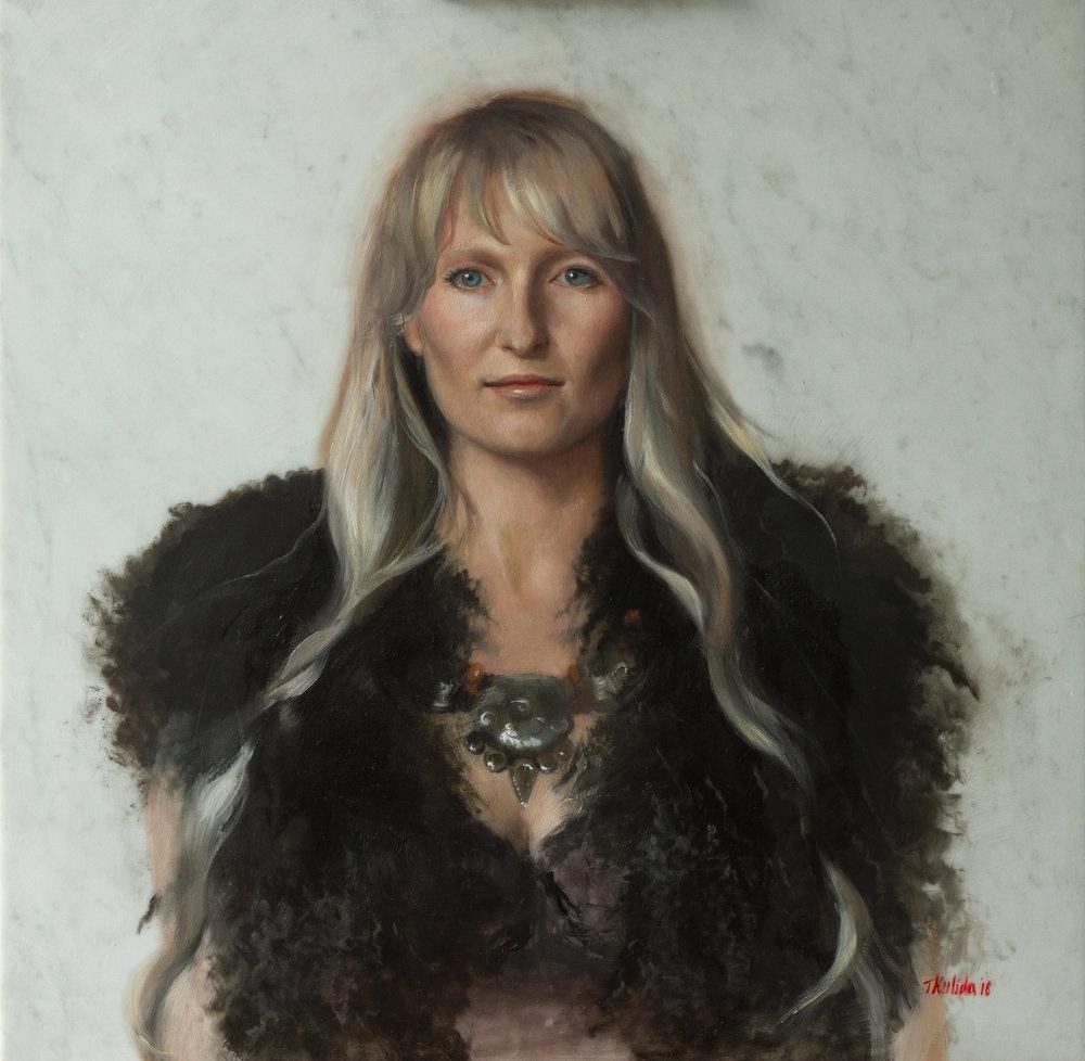 Wind Goddess, oil on marble, 60x60, framed, December 2016