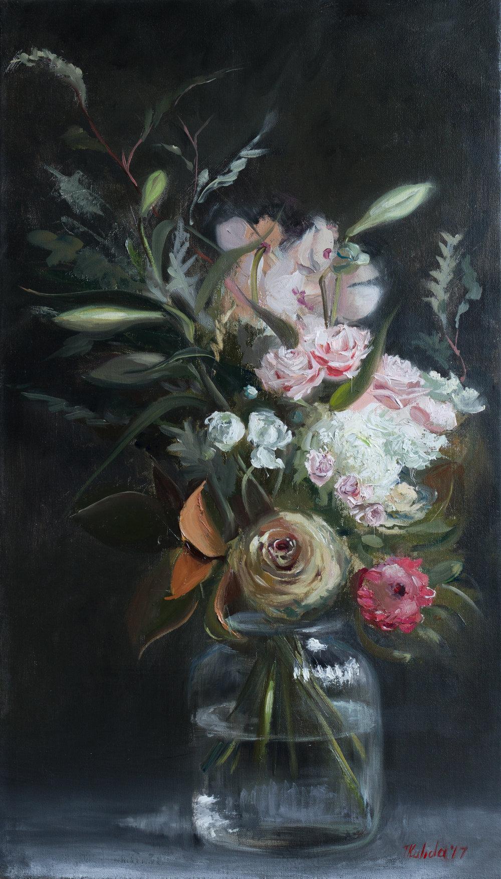Anniversary Flowers, 40x70, framed, June 2017