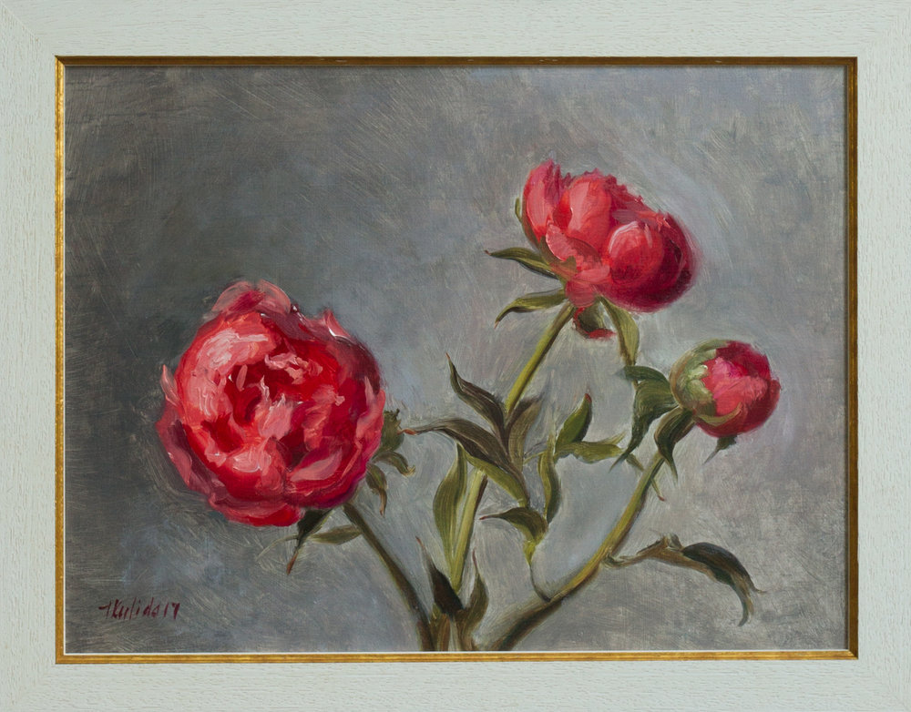Triptych: Peonies in Bloom,  30x40, framed, November 2017