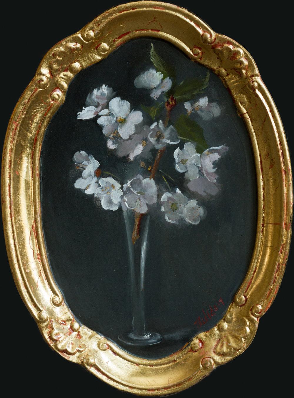Cherry Blossoms, oil on gilt panel, 25x16, framed, September 2017