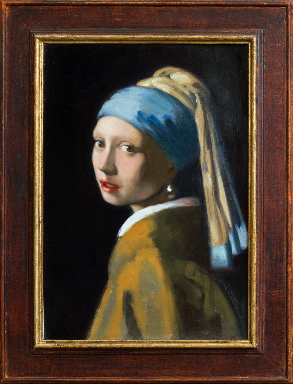 Copy after Vermeer's  Girl with a Pearl Earring, 35x50, framed, January 2018