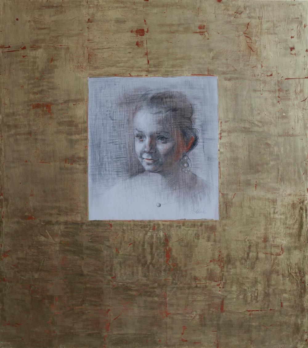 Emily, mixed media on gilt panel, 75x80,August 2017
