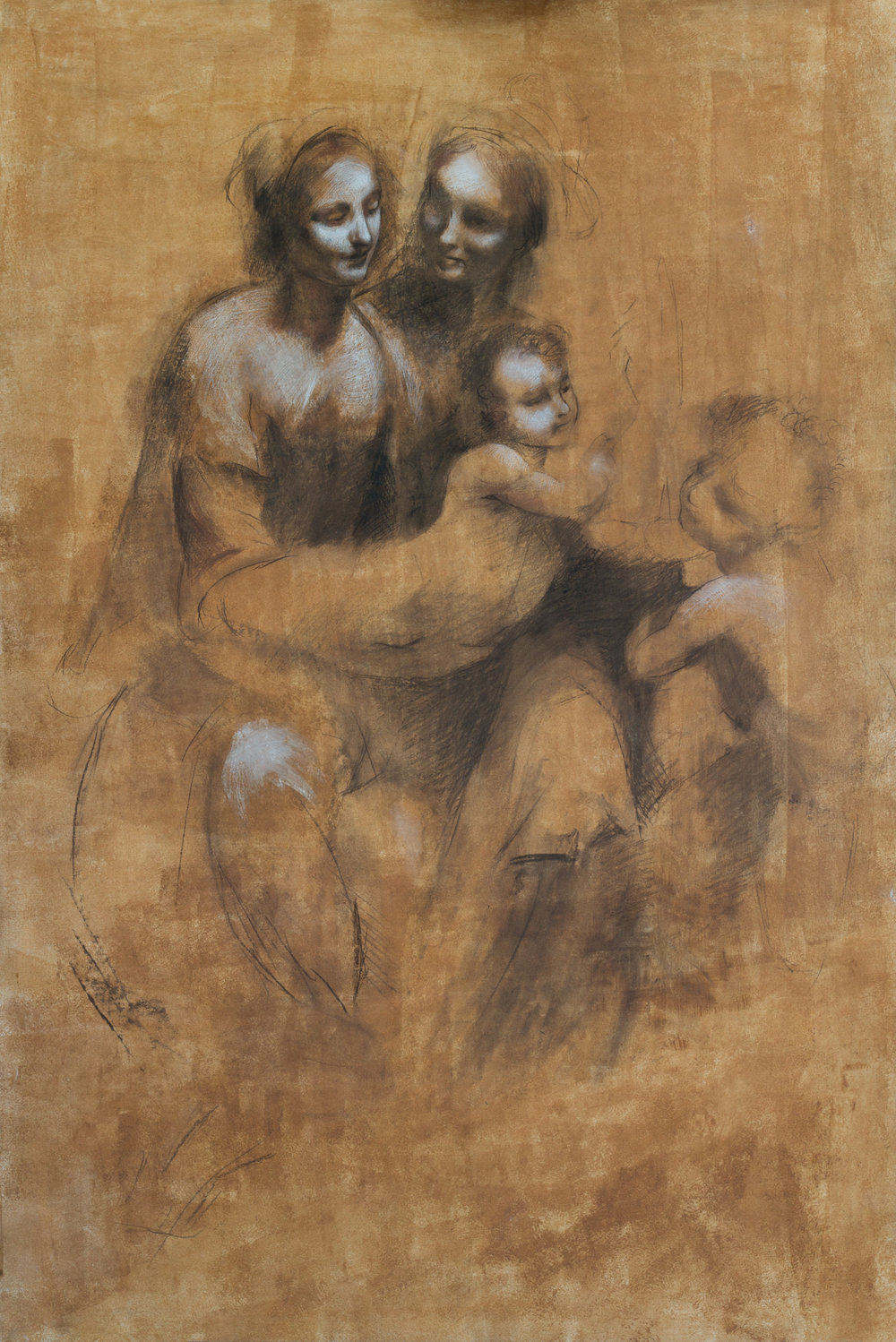 Copy after Leonardo's The Virgin and Child with St Anne and St John the Baptist, 90x120, unframed, October 2017