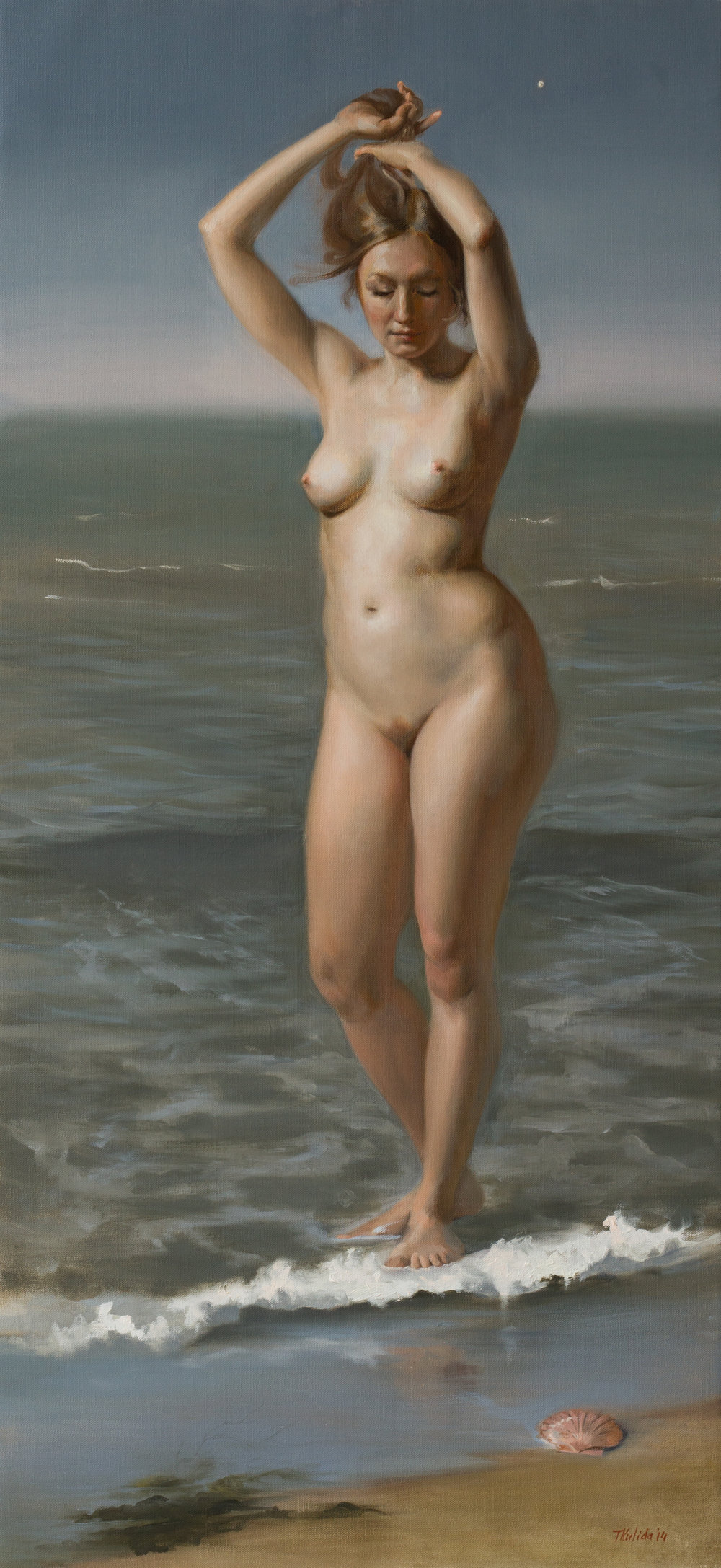 Venus, oil on linen, 150x70, framed, April 2014