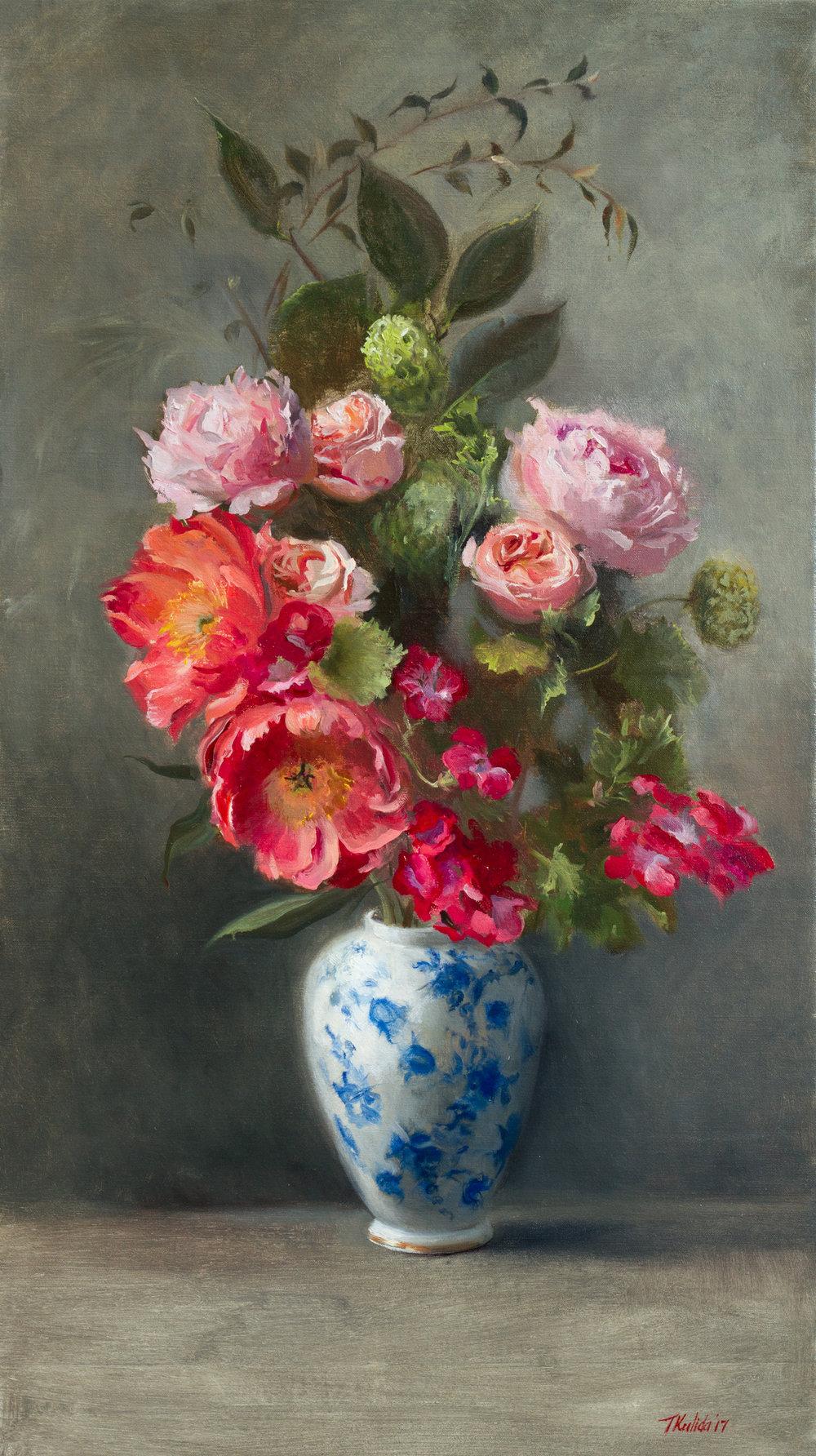 Flowers in a Blue Vase, oil on linen, 50x80, unframed, November 2017