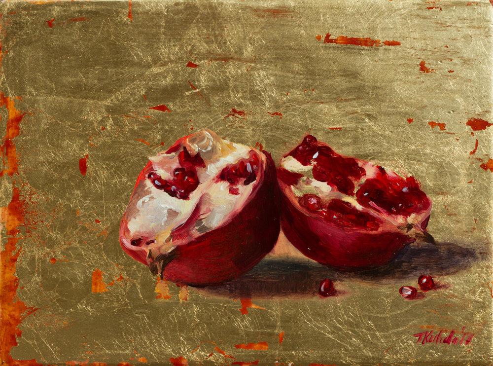 Pomegranate, oil on gilt red wood, 24x18, unframed, December 2017