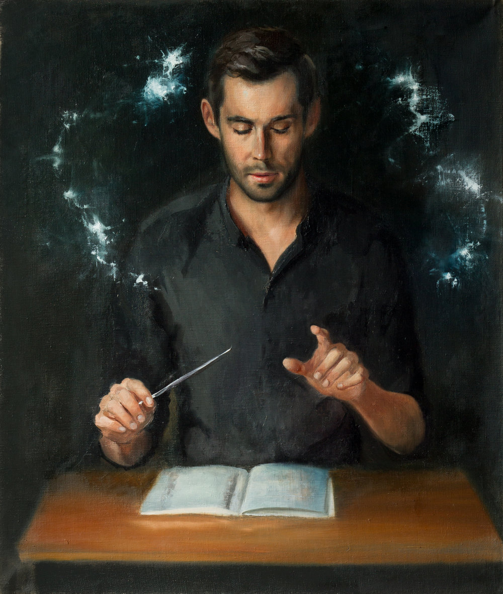 Conductor,  oil on linen, 70x85, framed, August 2017