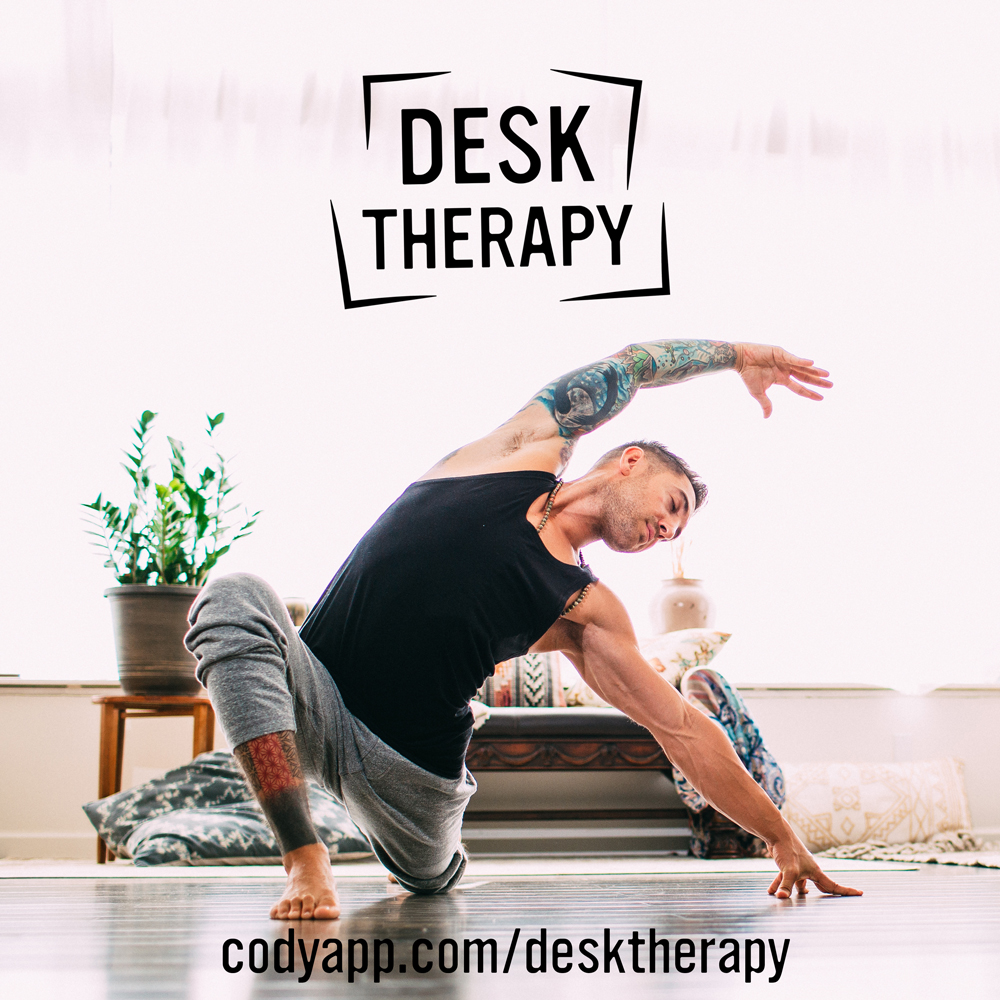 Desk Therapy Increase mobility and flexibility through therapeutic flows, stretches, and holds that target areas impacted by long periods of sitting. We also focus on dynamic stretches and neuro-flossing. Each session will open and release tightness in the hips, hamstrings, shoulders, neck and back.
