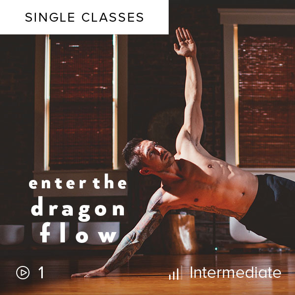 Enter the Dragon Flow    Challenge your balance and strength as you flow, practicing poses like Standing Crane and Dragon in this 75-minute martial arts-inspired class.