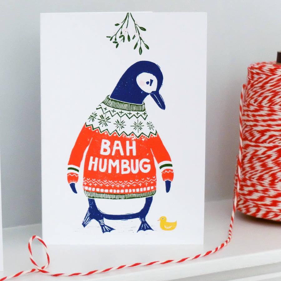 Bah Humbug! 'Grumpy Penguin' Xmas Cards