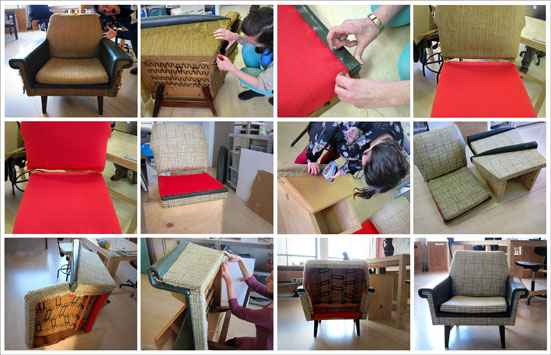 Sit, curl up into a chair, lay down, sleep… What is a sitting object to us? When to we sit or lay down? How much time do we spend seated in one day? Do we sit to be social or escape sociality? What do we demand from a sitting object?  Together with Arch. Adam Scales, we are designing a sofa. And while asking ourselves the above mentioned questions plus many others more, we took the challenge to redo the upholstery of two Danish Design armchairs from the '50s. This exercise turned up to be very constructive. We marked with it one chapter of our research, namely how the technical build-up of an armchair influences lifestyle and duration of sitting. Our process continues.