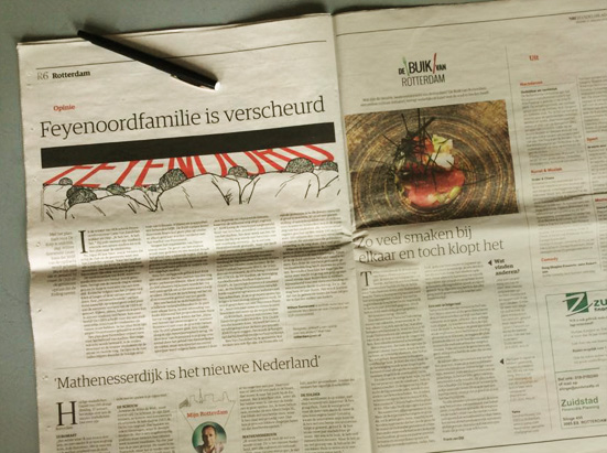 Our studio had the pleasure to make an illustration for the article 'Feyenoordfamilie is verscheurd' (eng. 'The Feyenoord Family Is Torn Apart') by Willem Sonneveld. Well, the article was published in the NRC's Rotterdam edition of today. You can read it online on the NRC website.