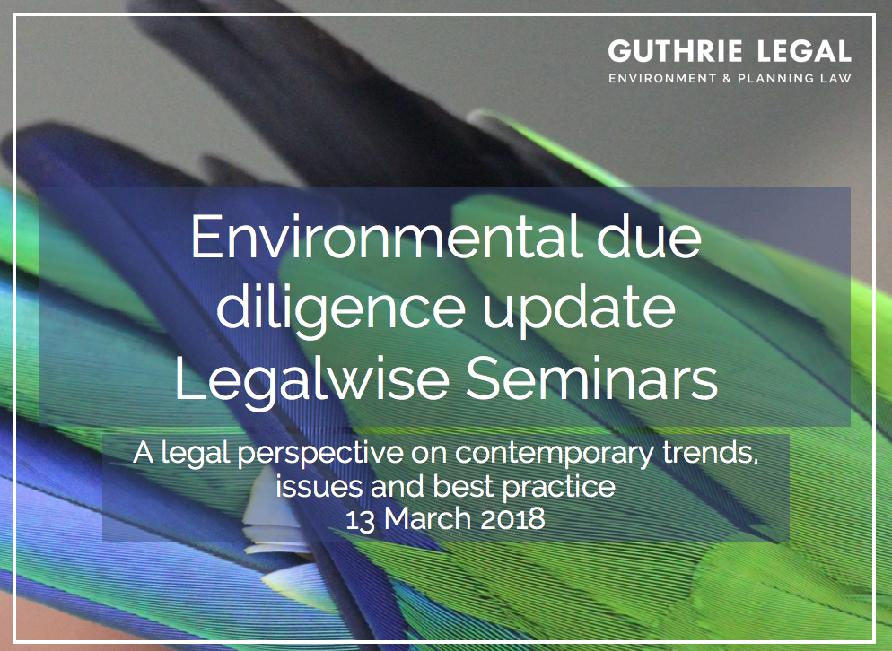 Environmental planning due diligence Guthrie Legal