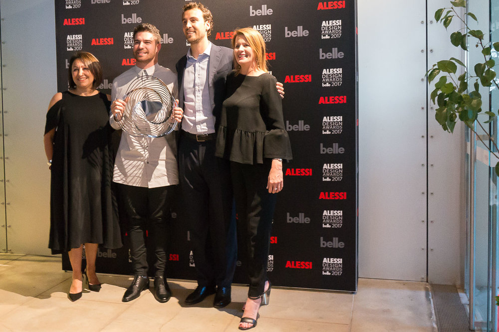 Anne Sullivan (CEO Alessi Australia), Rene Linssen (2017 winner), Luca Alessi and Tanya Buchanan (Editor, Belle Magazine)
