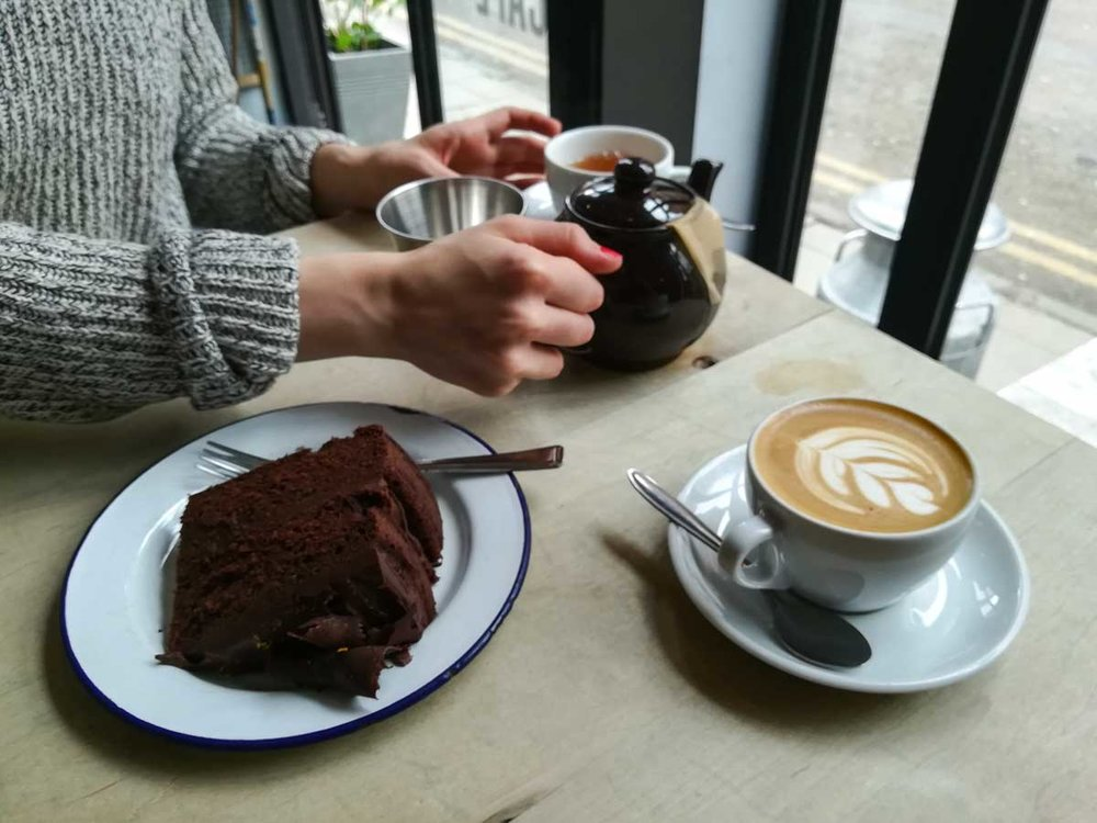 Coffee, tea and chocolate cake at Society Café, Oxford