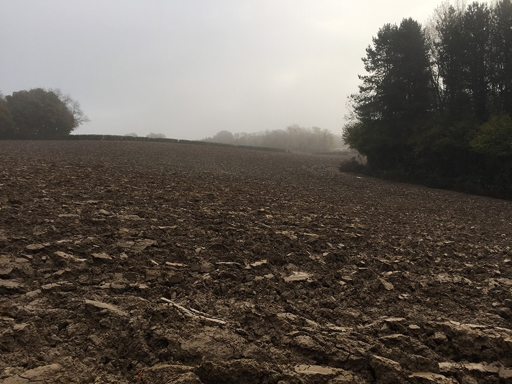 A deep plough turned heavy soil before the winter