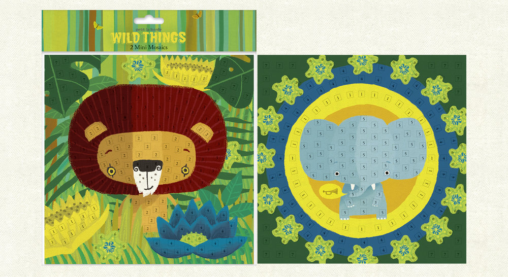 Wild Things Mosaics  (200mm x 200mm). Set of two colour-coded artworks with 8 sheets of EVA mosaic tiles-by-number to stick on and create your own amazing mosaic.    Click   here   to buy.
