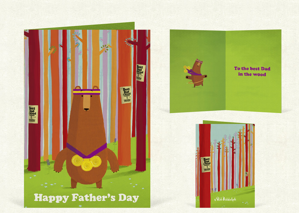Best Dad In The Wood (120mm x 170mm). With gold foil detail. Click here to buy.