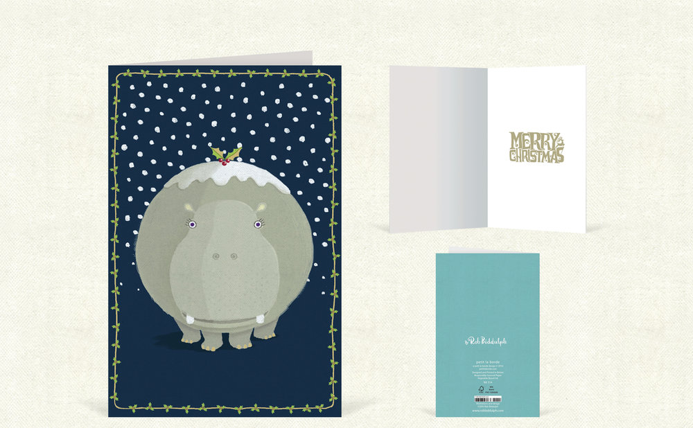 Hippo Christmas  (90mm x 140mm). With silver foil detail.   Click   here   to buy.
