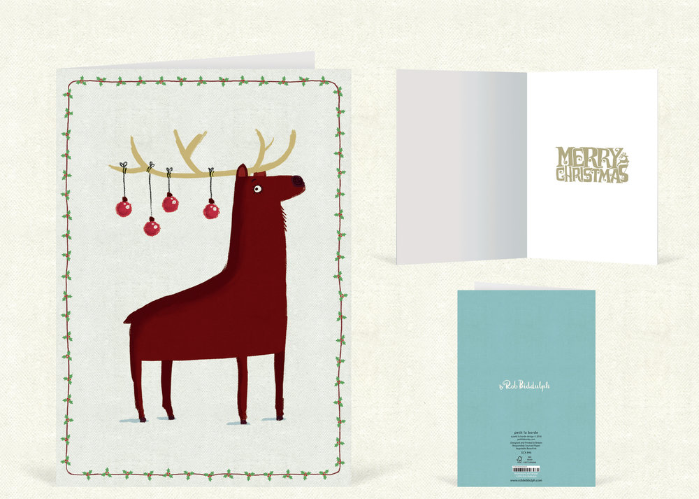 Reindeer Baubles Tall  (120mm x 170mm). With gold foil detail.