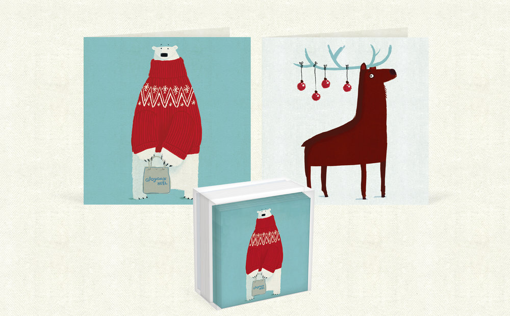 Joyous     No   ë   l  and  Reindeer Baubles  mini card boxes   (80mm x 80mm).   Click   here   to buy.