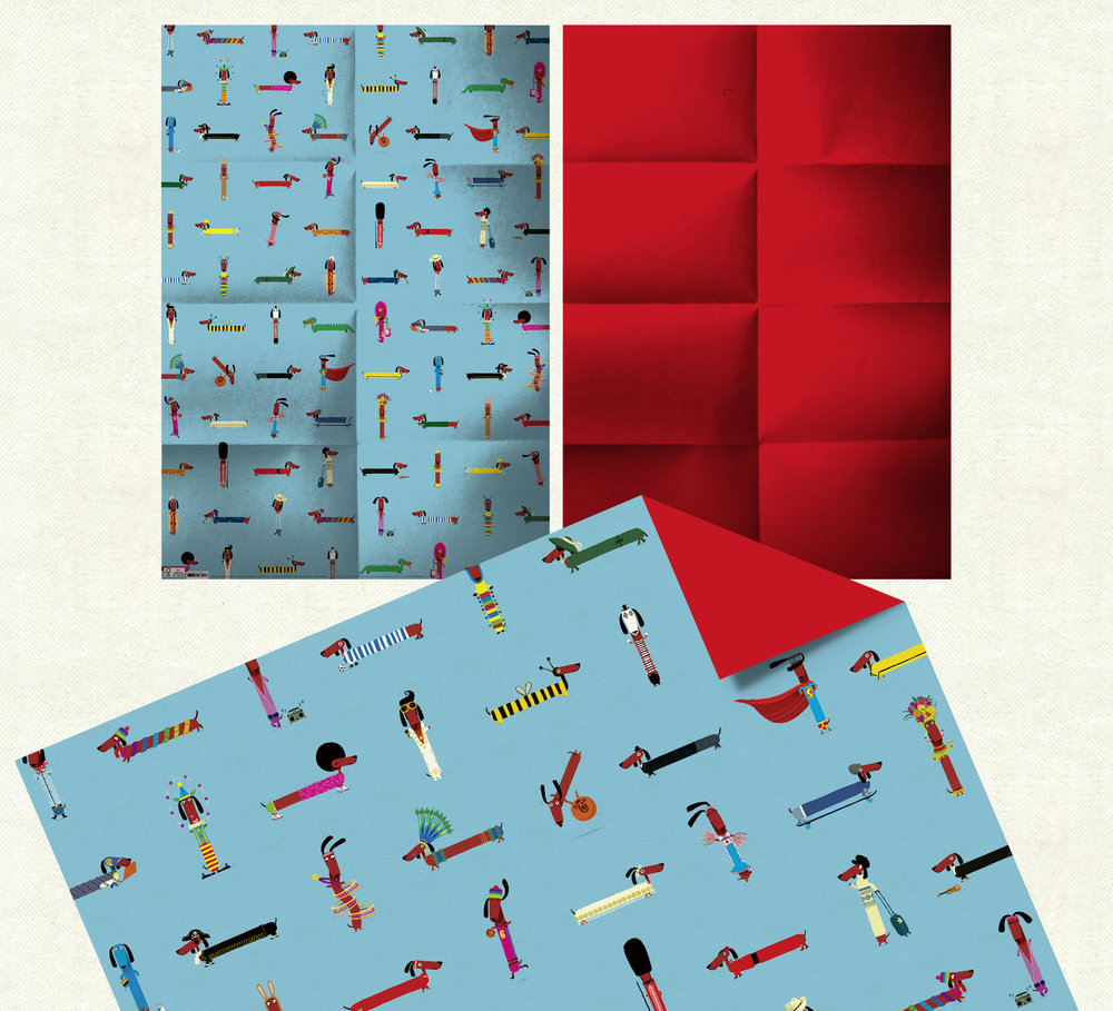 Double-sided Odd Dog Out Christmas wrap. Click here to buy.