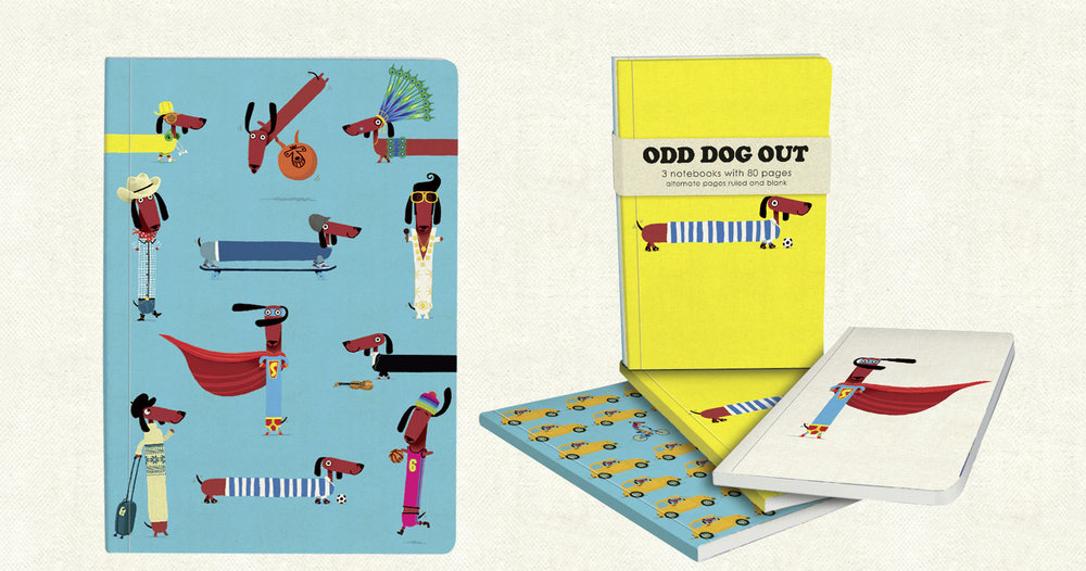 Odd Dog Out  soft-backed ruled and blank exercise books (A5 and A6). Click  here  to buy.