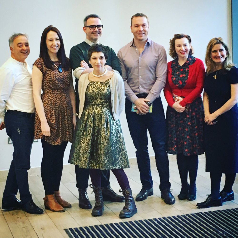 Left to right: Frank Cottrell Boyce, Clare Elsom, me, Joanna Nadin, Sir Chris Hoy, Lydia Monks and Cressida Cowell.