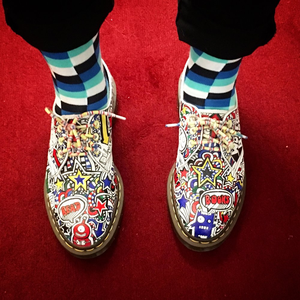 Steven's amazing shoes, hand-illustrated by Liz Pichon