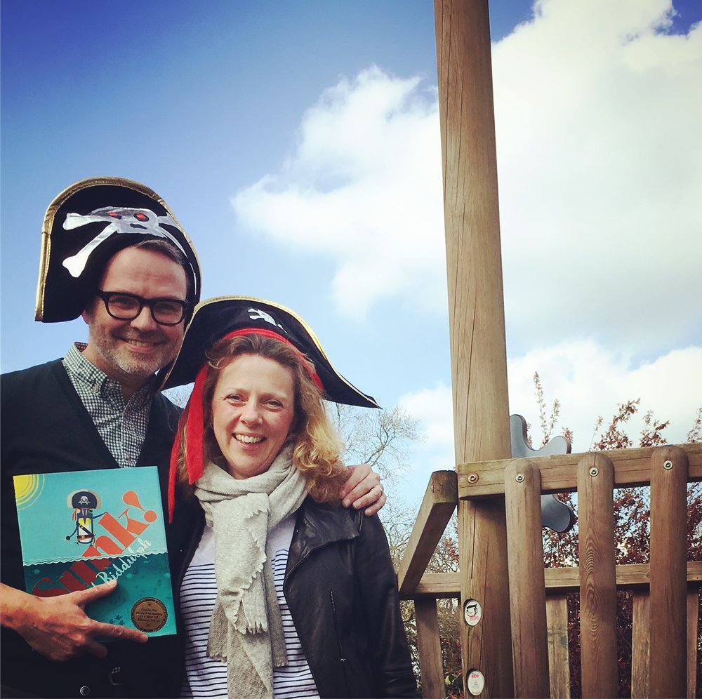 Me and lovely Jo from HarperCollins looking pretty swish in our pirate hats at Dulwich Prep.