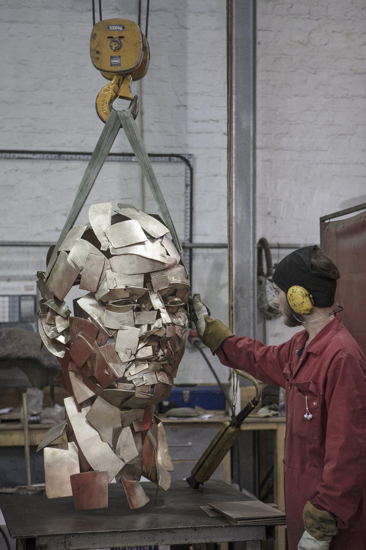 Jonathan Yeo sculpture freshly cast at Pangolin Editions.jpg