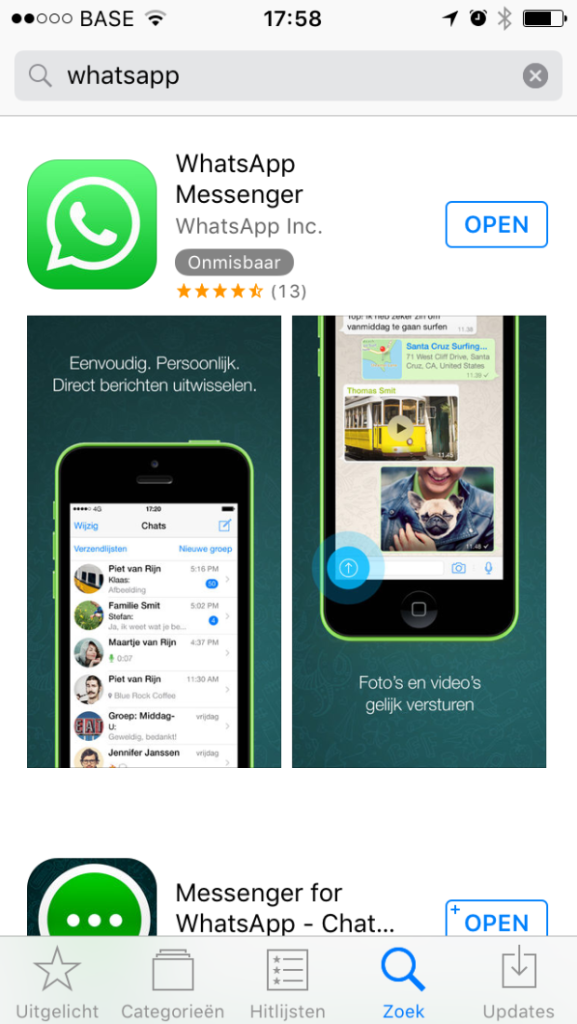 Whatsapp installeren