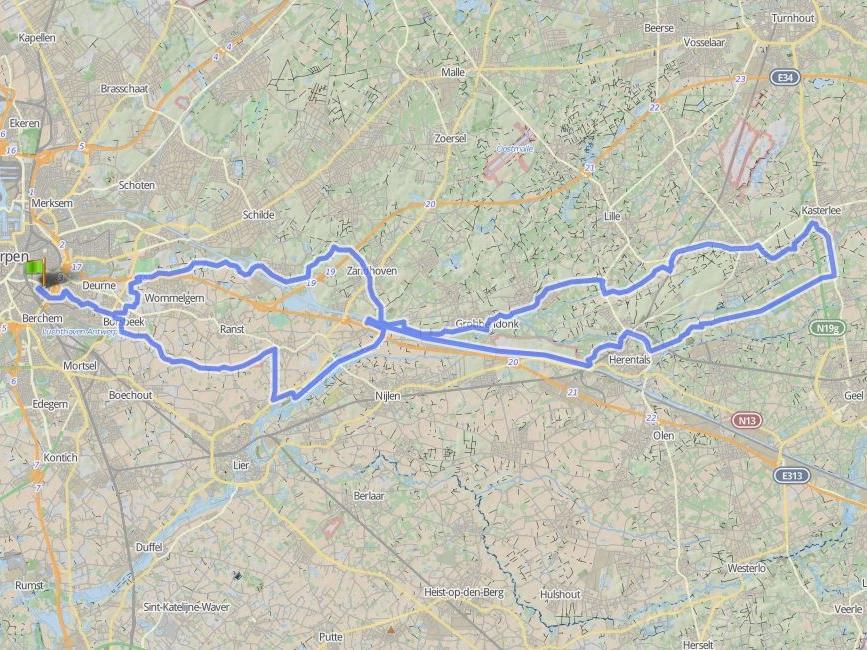 102 km - KASTERLEE - GROEPEN < > 15Uilegoem, Grobbedoenk, Veusseleir, Lichtert,Kââstel, Hertals, Viesel, Emmelem.