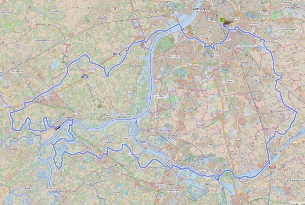 107 km - SCHELDE- en WAASLAND - GROEPEN < > 15Alweer een mooi ritje van Padevinder Maurits.