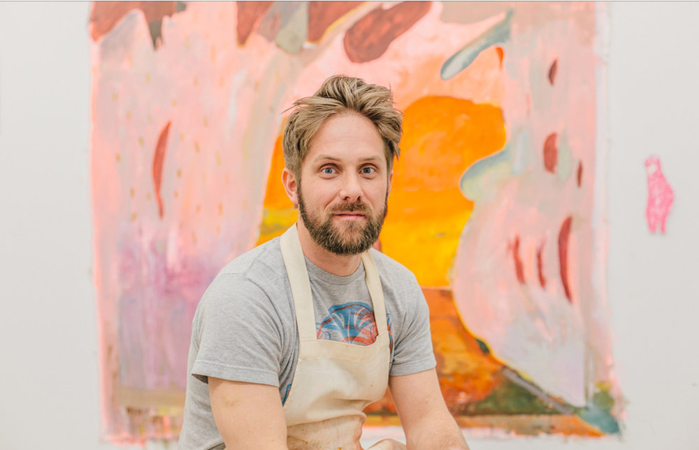"John Paul Kesling   Opening August 3, 2017   ""Painting is a way to interpret life. As with life, the plan never goes the way I thought it would. Music, foggy memories, a new tube of paint, conversations from earlier, a comedy podcast, politics; they are all materials with no hierarchy. Paint is fluid, and for me, can only make fluid ideas. If those ideas result in a pretty picture, the painting is finished and a new conversation can begin.""   - John Paul Kesling"