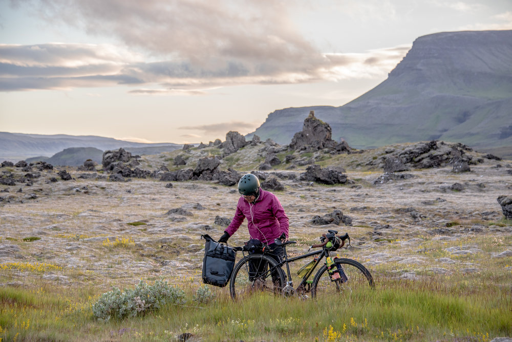 Loading up the bikes after a nap in the lava fields.