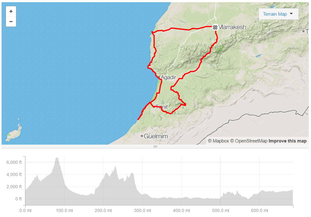 My route through southern Morocco, compiled after-the-fact.