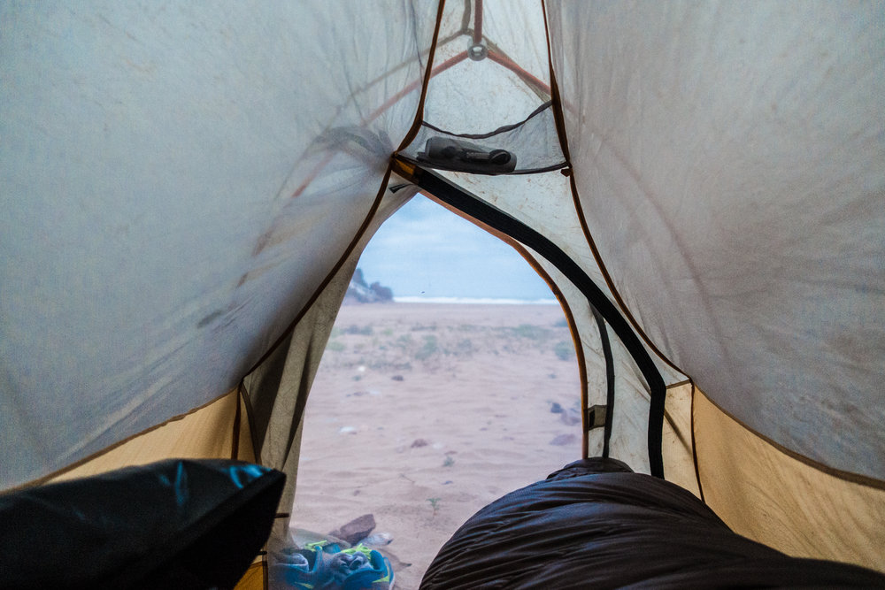 Wild camping on a beach outside of Mirleft in southern Morocco. Cost: $0.