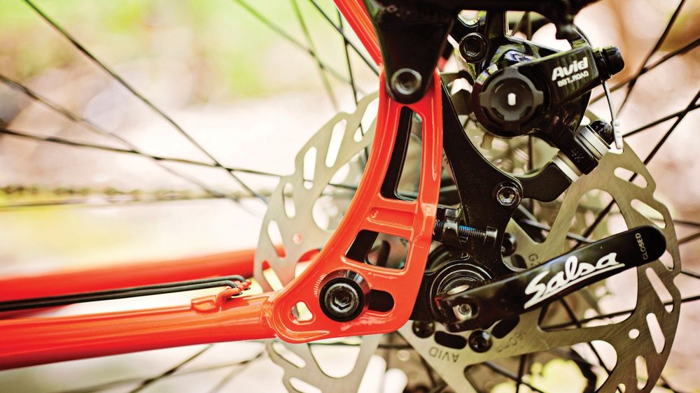 Disc brakes can be a bit more complicated than rim brakes, but brake better. Photo credit: Salsa Cycles.