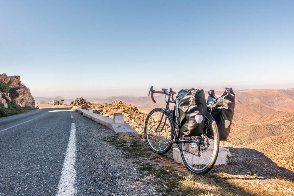 Cycling the Atlas Mountains of southern Morocco last February (this isn't the bike we'll be taking on our next trip).