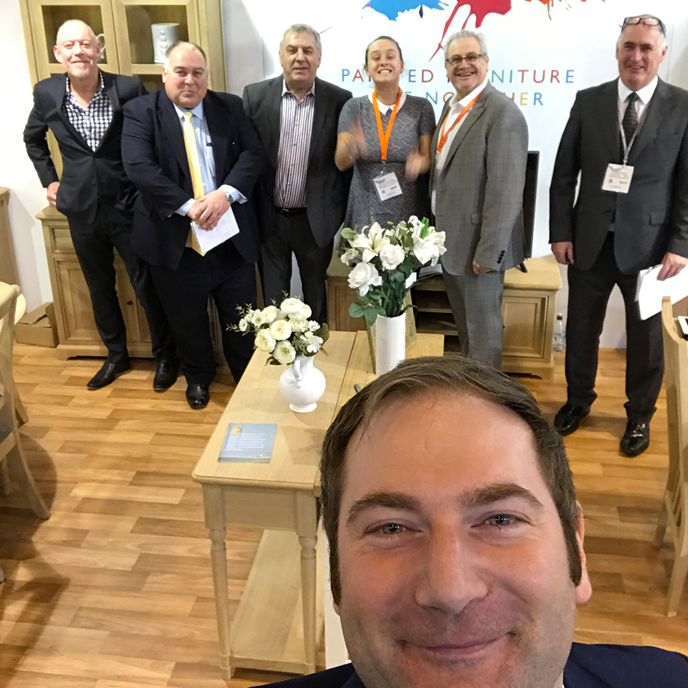 The Charltons Furniture at JFS 2017. In the foreground Managing Director Ross Charlton (returned to us safely by his medical team!) and in the background our Sales Team from left to right George Hatton, Steve Cole, David Fothergill, Sally Lungmuss, Steve Upperton (Head of Sales) and Francis Foley