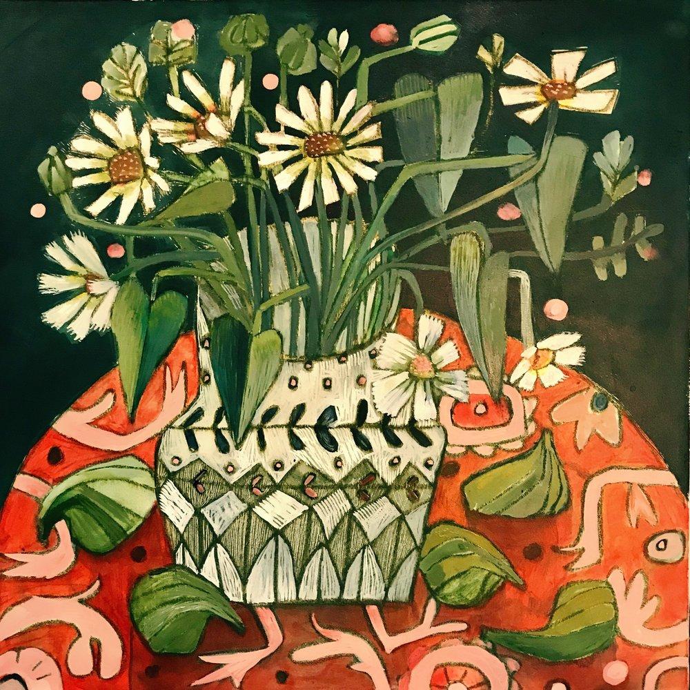 Marguerite 40x40cm Acrylic on fine linen.