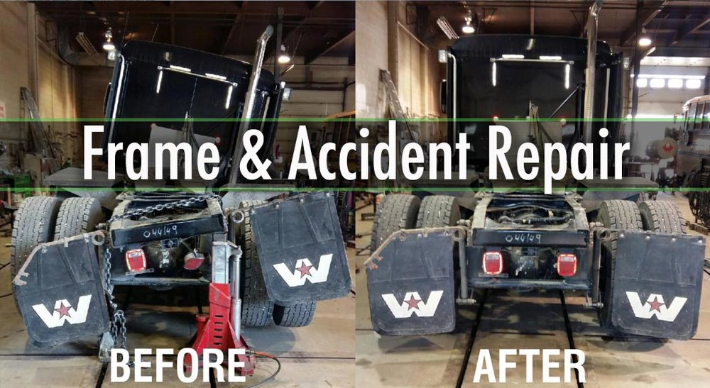 FRAME & ACCIDENT SERVICES  Truck & Trailer Frame Straightening Insurance & Accident Repairs Accident Damage Checks on Axles, Kingpins, & Spindles