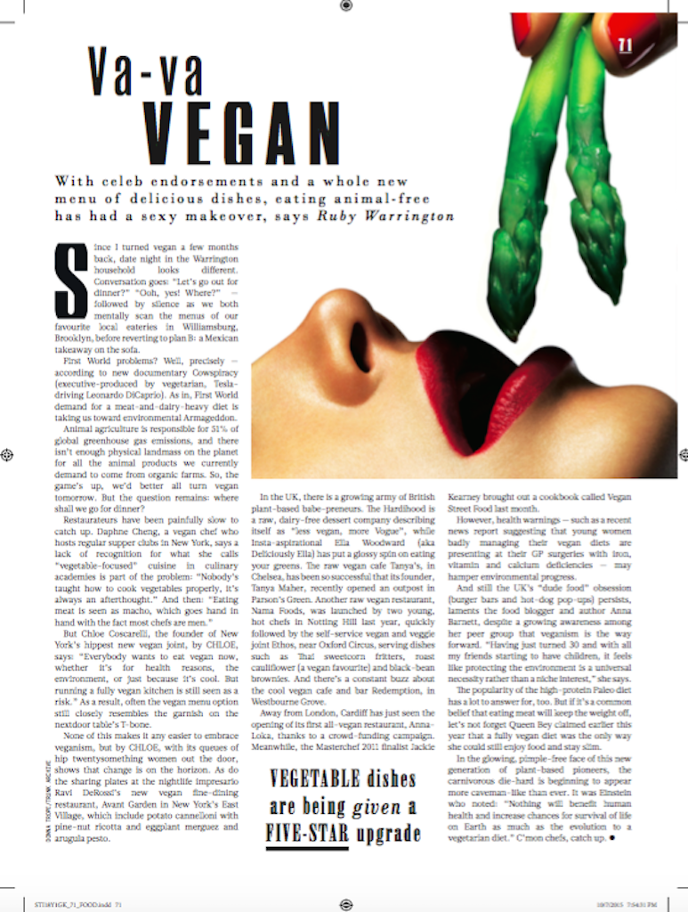 Veganism goes glam,  Sunday Times Style
