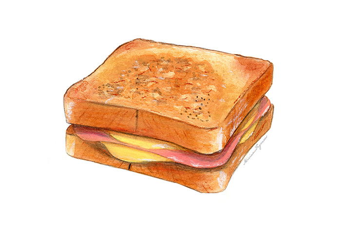 "Ham and cheese sandwich, also known as ""bikini"" in Barcelona."