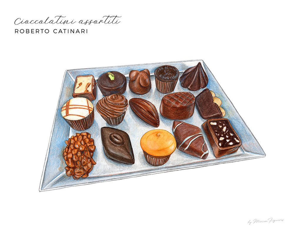 A plate of assorted chocolates from Roberto Catinari.