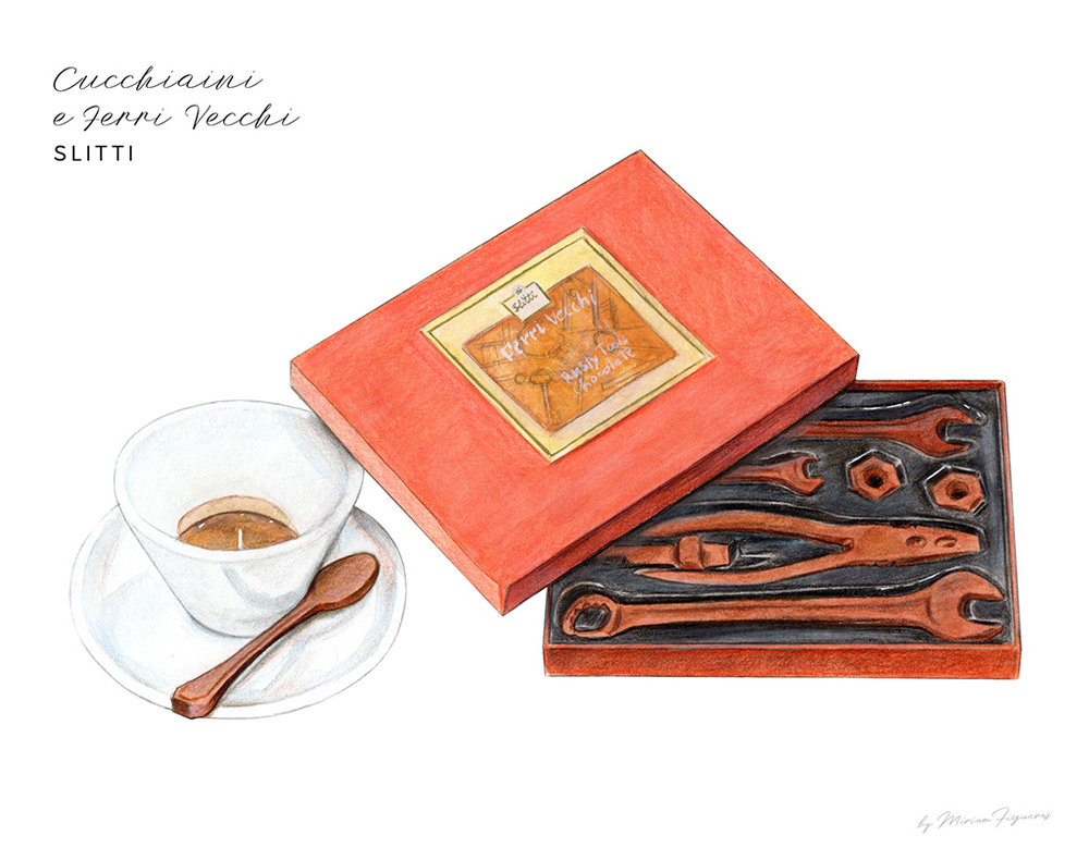 Chocolate coffee spoons –cucchiani da caffè– and a set of rusty tools –ferri vecchi– from Slitti.