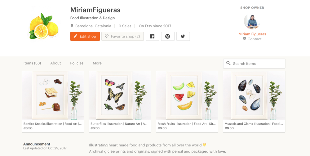 Main page of my new Etsy store! Click on it to visit.