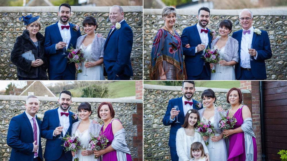 long furlong barn, sussex wedding photographer, family group shots wedding